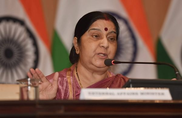 External Affairs Minister Sushma Swaraj addresses a press conference over the death of 39 Indians who were killed in Iraq in New Delhi on Tuesday. | PTI