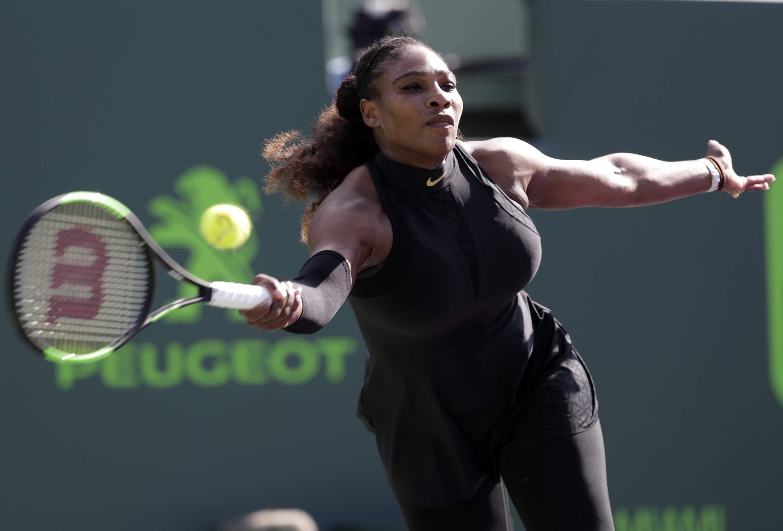 Serena Williams Returns To Naomi Osaka Of Japan During The Miami Open Tennis Tournament Ap