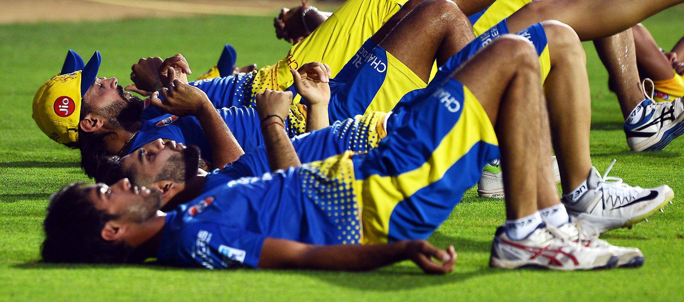 The Chennai Super kings team had gathered at the MA Chidambaram stadium, Chepauk for rigorous pre-season training. CSK's campaign will kick off against Mumbai Indians on April 7 at the Wankhede Stadium in Mumbai. (EPS | D Sampath Kumar)
