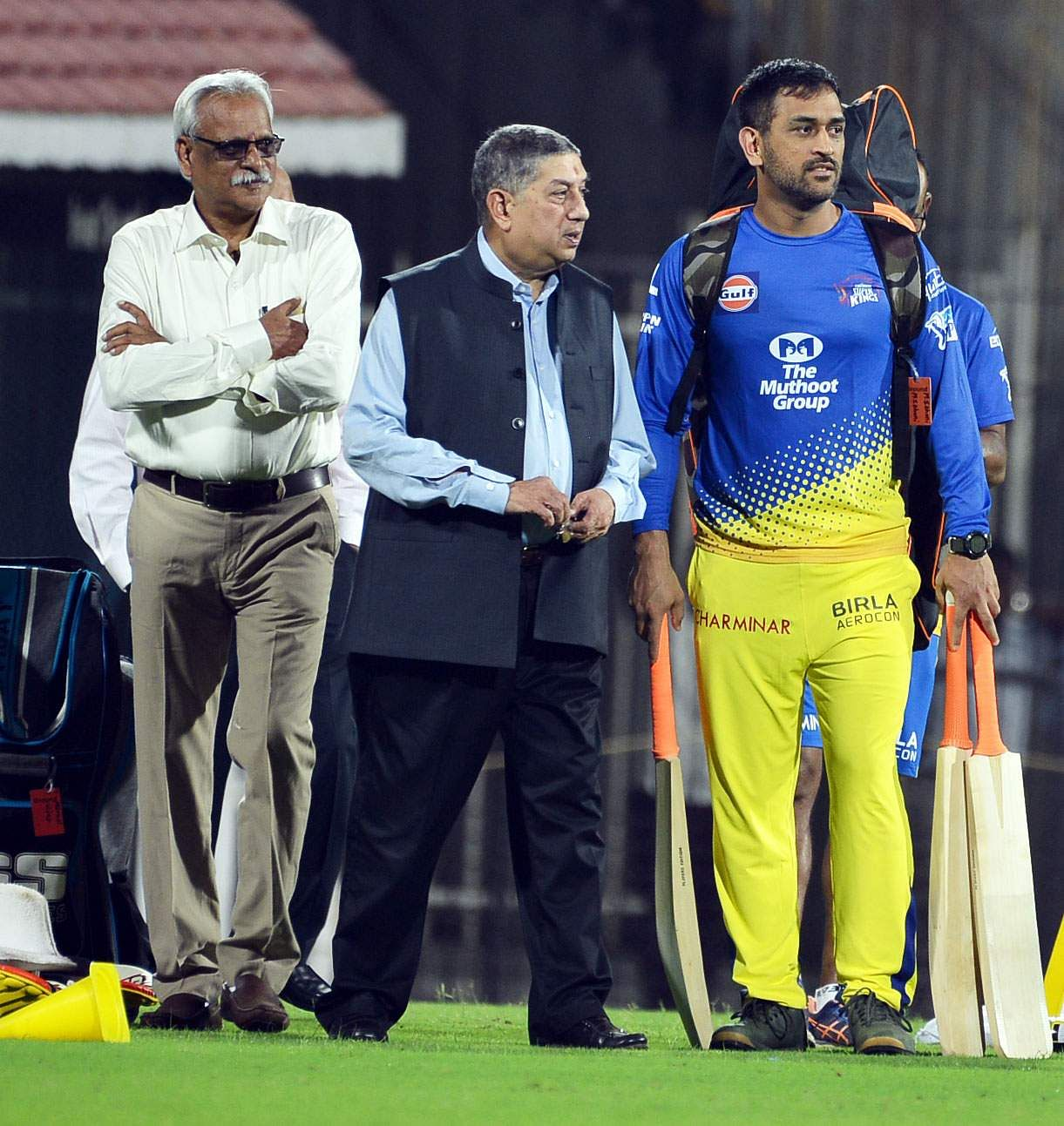 N Srinivasan and team CEO Kasi Viswanathan also made their presence felt, involving themselves in a conversation with Dhoni before practice. (EPS | D Sampath Kumar)