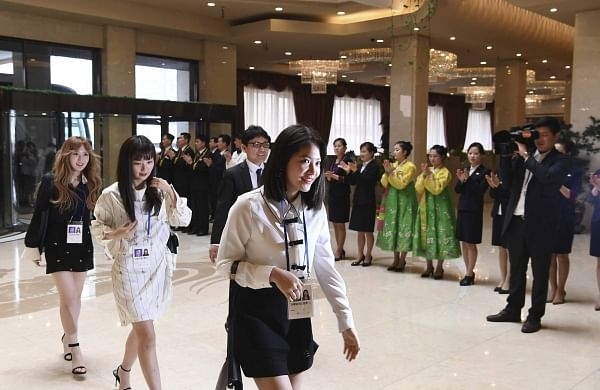 South Korean popular girl band Red Velvet arrives at a hotel in Pyongyang. | AP
