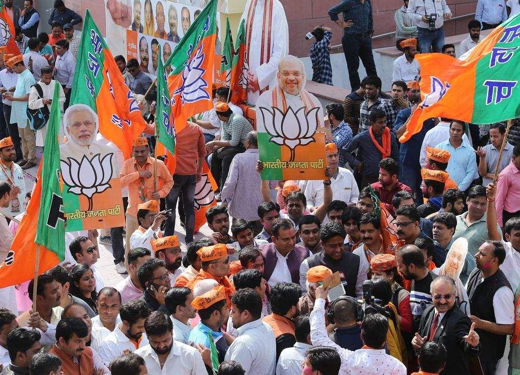 Celebrations at BJP headquarters in New Delhi.  (EPS | Shekhar Yadav)