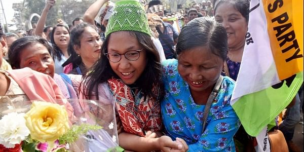 Tura NPP candidate Agatha Sangma celebrates with party supporters after winning in her constituency in the Meghalaya Assembly elections at Tura on Saturday. (PTI)