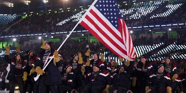 Mike Schultz leads U.S. delegation during the opening ceremony for the XII Paralympic Winter Games in the Pyeongchang Olympic Stadium in Pyeongchang South Korea. | AP