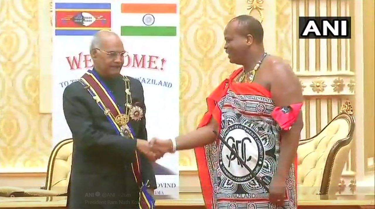 President Kovind conferred highest civilian honour of Swaziland