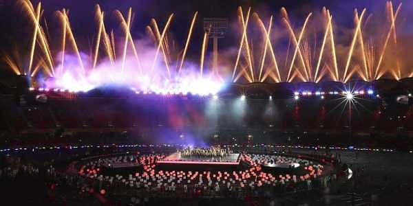 Fireworks light up at Carrara Stadium during the closing ceremony of the 2018 Commonwealth Games on the Gold Coast, Australia, Sunday, April 15, 2018. | AP