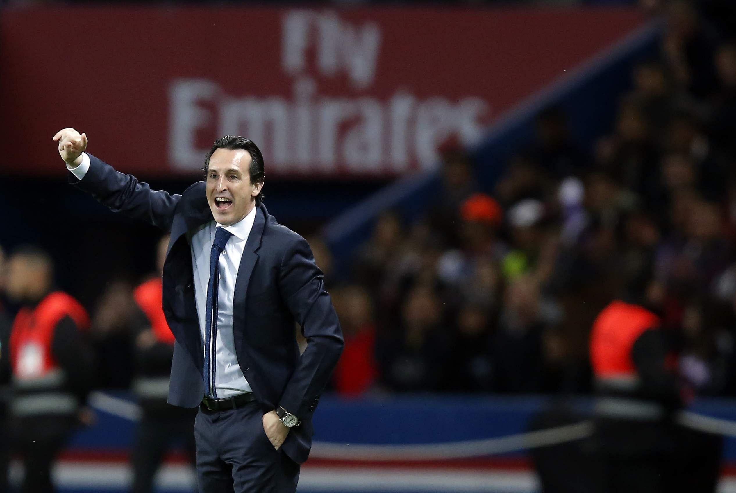 Paris Saint Germain's head coach Unai Emery leads his players during their French League One match against Monaco. (AP)