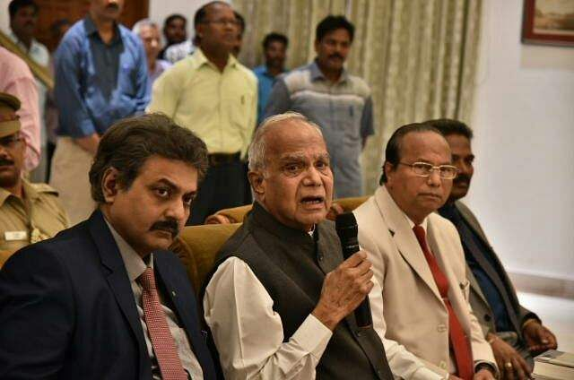TN Governor Banwarilal Purohit speaks during a press meet held in connection with sex scandal involved Madurai Kamaraj University, at Raj Bhavan on Tuesday in Chennai. (Express | P Jawahar)