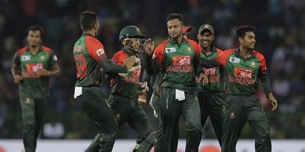 Bangladesh's Shakib Al Hasan, center, celebrates the the dismissal of Sri Lanka's Danushka Gunathilaka. | File AP