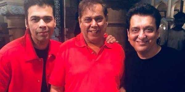 Karan Johar, David Dhawan and Sajid Nadiadwala on the sets of Kalank (Twitter @Alia Bhatt)