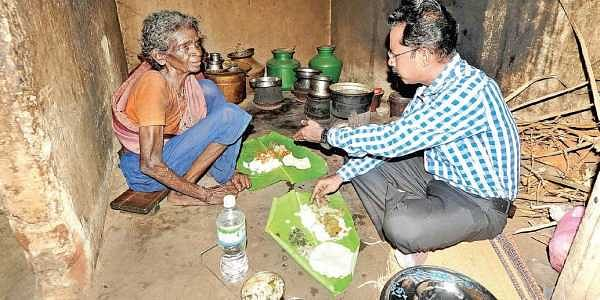 Karur Collector comes calling with food for elderly woman- The New