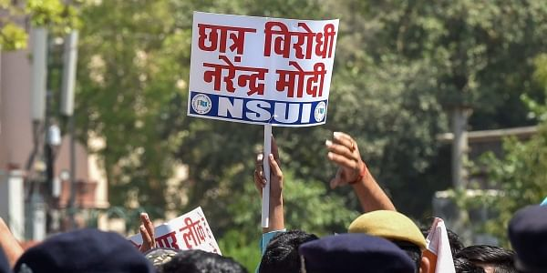 NSUI activists and 10th and 12th CBSE class students raise slogans against Union HRD Minister Prakash Javedkar regarding the alleged CBSE paper leak in New Delhi. | File PTI