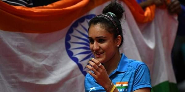 Manika Batra celebrates her victory during the women's singles gold medal table tennis match against Singapore's Mengyu Yu at the 2018 Gold Coast Commonwealth Games. | File AFP