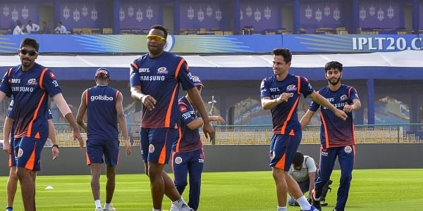 Mumbai Indians IPL team players during a practice session in Jaipur on Friday. | PTI
