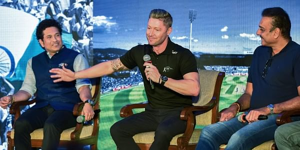 Cricket legend Sachin Tendulkar Michael Clarke and Ravi Shashtri at the launch of book 'Eleven God and a Billion Indians' authored by Boria Majumdar in Mumbai on Monday. | PTI