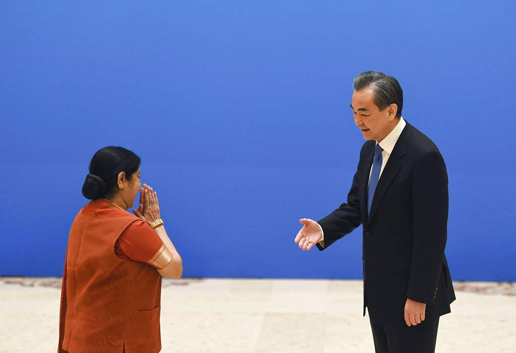 Sushma Swaraj welcomed by China's foreign minister Wang Yi at SCO meet