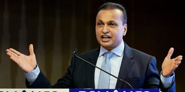 RCom Chairman Anil Ambani addressing a press conference in Mumbai on Friday