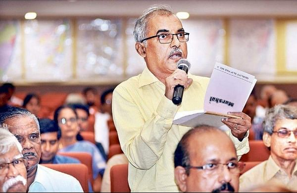 A man raising questions during the public 'workshop' on the proposed expansion of the Chennai Metropolitan Area, in Chennai on Monday | D SAMPATHKUMAR