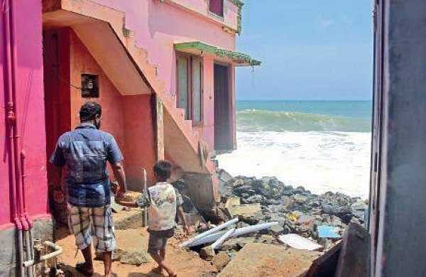 Houses destroyed by waves that battered the Valiyathura coast in Thiruvananthapuram in the past few days | Express