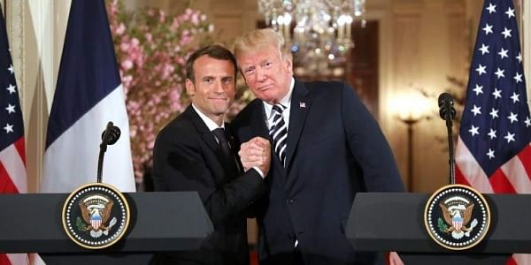 US President Donald Trump and French President Emmanuel Macron hold a joint press conference at the White House in Washington. | AFP