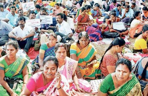 Elementary school teachers observing a hunger strike demanding better wages at the Rajarathinam Stadium.