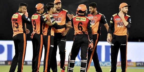 Sunrisers Hyderabad players cheer during their match against Kings XI Punjab at IPL 2018 at Rajiv Gandhi International Cricket Stadium in Hyderabad. | PTI