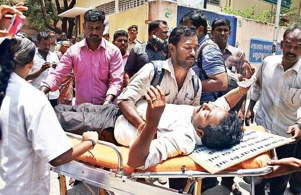 A member of Second Grade Seniority Teachers Association, who was protesting at Nungambakkam Corporation Girls Higher Secondary School, being shifted to hospital on Wednesday   ASHWIN PRASATH