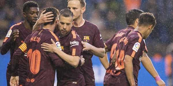 c2f9a7304e9 Barcelona wins Spanish league title with Lionel Messi hat-trick- The ...