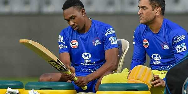Chennai Super Kings players Dwayne Bravo and MS Dhoni during a practice session ahead of IPL 2018 in Mumbai. | PTI