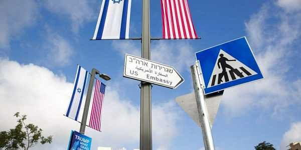 A road sign leading to the U.S. Embassy is seen ahead the official opening in Jerusalem. | AP