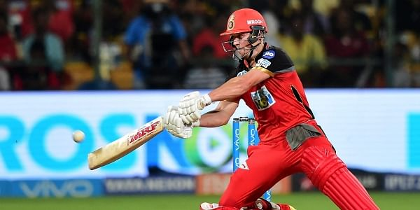 Royal Challengers Bangalore's AB De Villiers plays a shot against Sunrisers Hyderabad during their IPL T20 cricket match 2018 at Chinnaswamy Stadium in Bengaluru on Thursday. | PTI
