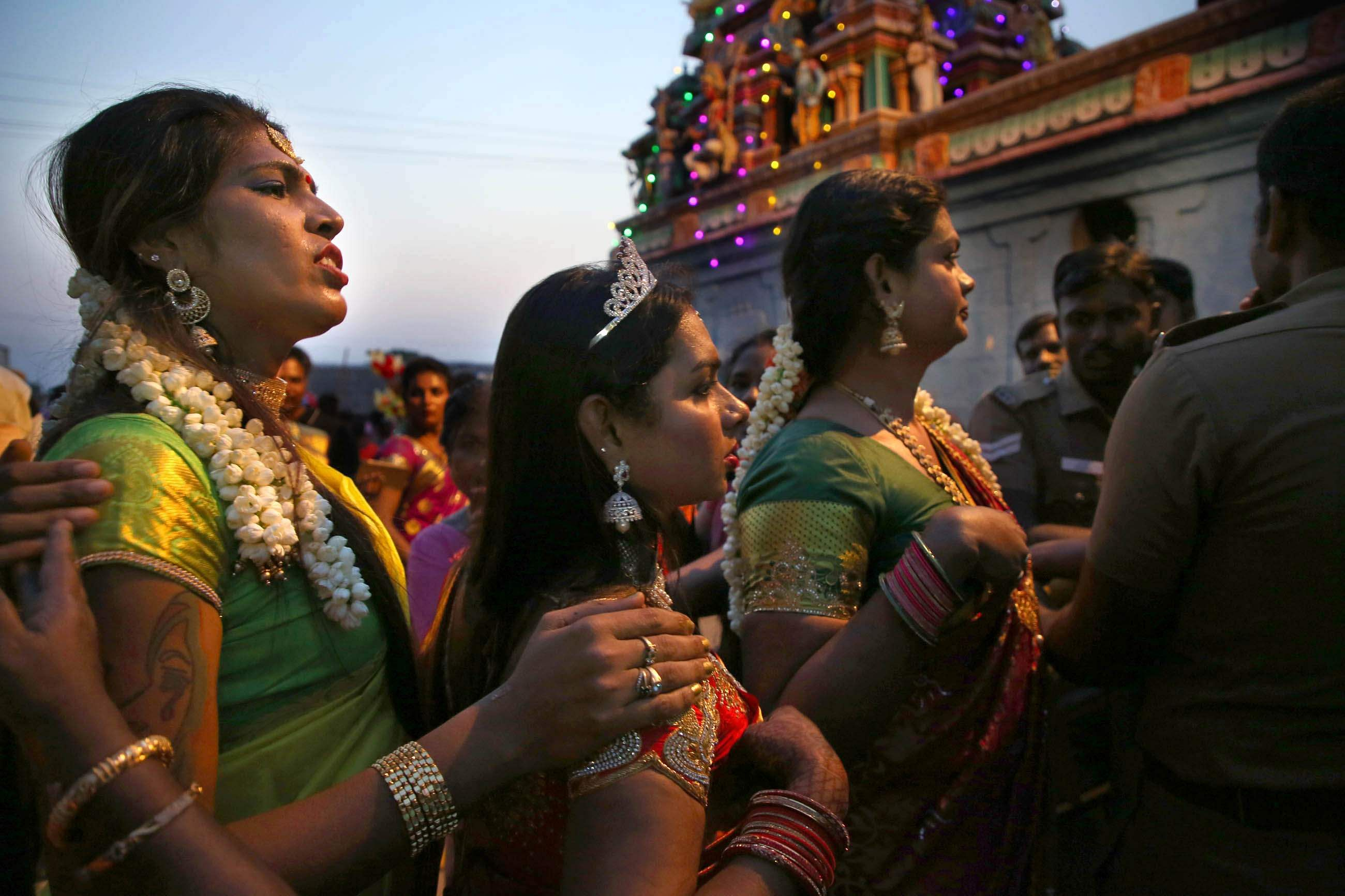 Koovagam village in Villupuram district's Ulundurpettai taluk is world famous for the unique 18-day long festival of transgenders in the Tamil month of Chitirai (April/May), who congregate at Koothandavar temple dedicated to Aravan (Koothandavar). Thousands of transgenders from across the country flock to Koovagam to marry Lord Koothandavar, reenacting a centuries-old legend from the Mahabharata about Aravan, a son of Arjuna born out of wedlock. (Express Photos | G Pattabiraman)
