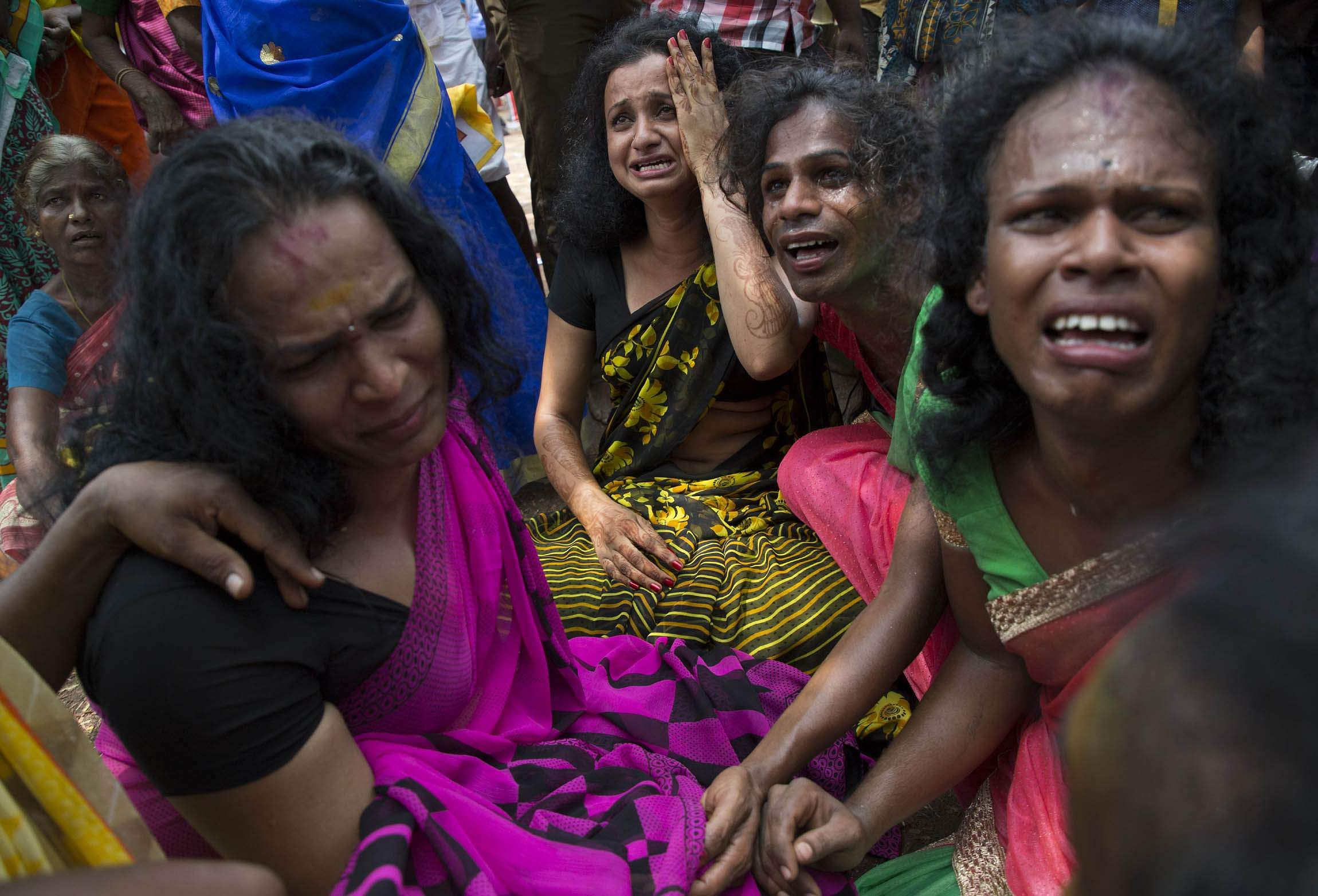 Transgenders mourn the death of Aravan at the Koovagam Koothandavar temple festival. (Express Photo | G Pattabiraman)