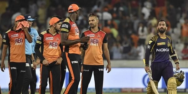 Kolkata Knight Rider Captain Dinesh Karthik R after win the match againast Sunrisers Hyderabad during IPL T 20 match in Hyderabad on Saturday. | PTI