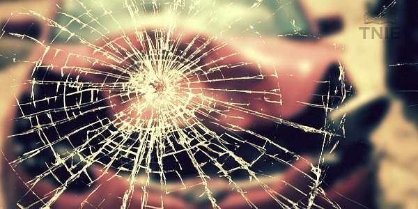 accident, car accident, crack, glass crack