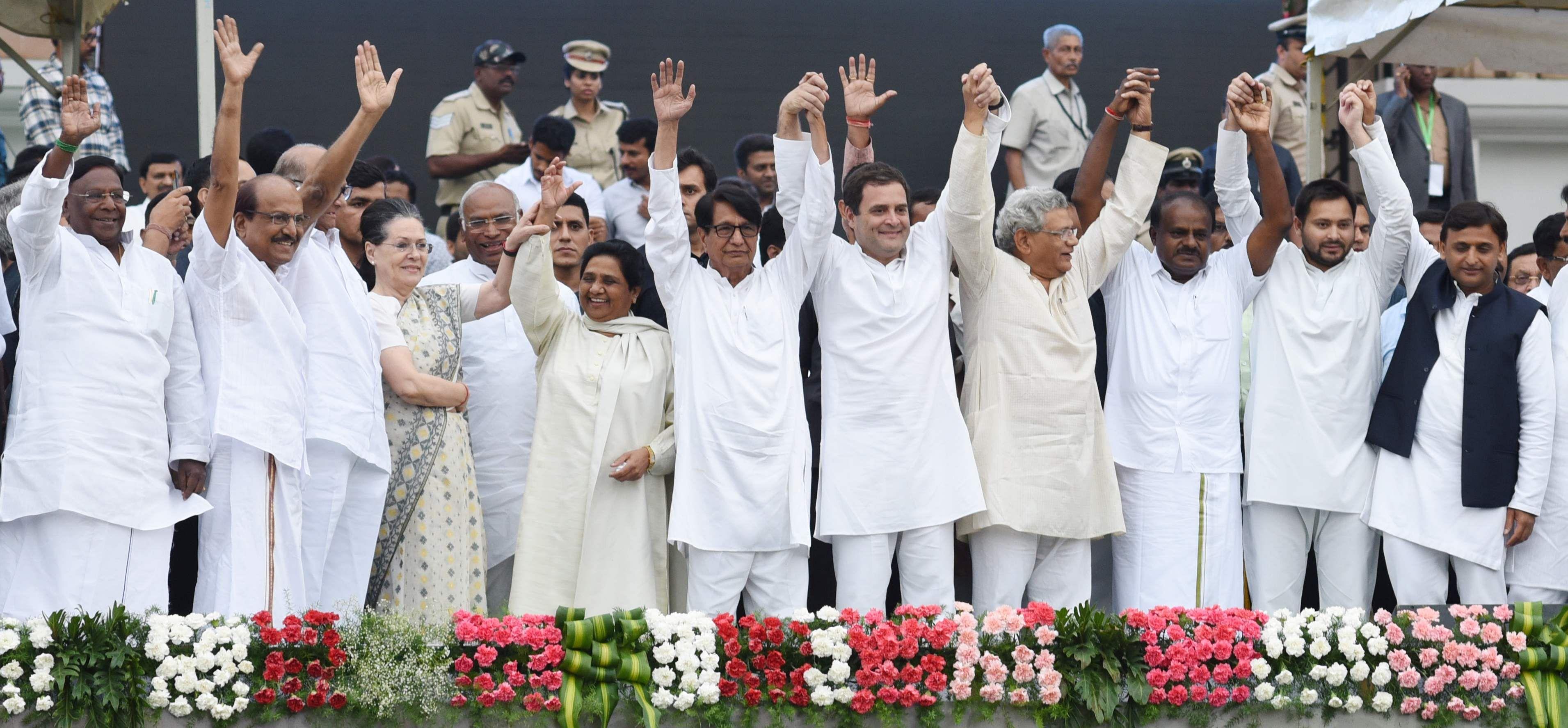 Congress president Rahul Gandhi, his mother and UPA chairperson Sonia Gandhi, West Bengal Chief Minister Mamata Banerjee, N Chandrababu Naidu, and Pinarayi Vijayan, her counterparts in Andhra Pradesh, and Kerala respectively, were present.