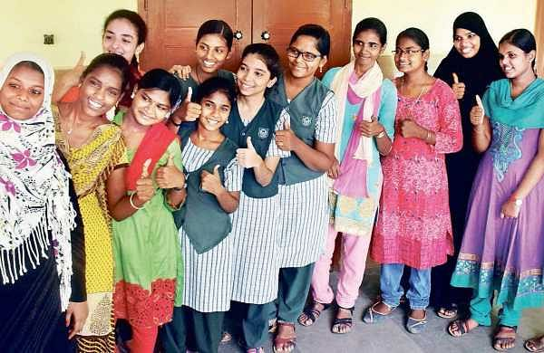 Aurally challenged students of Little Flower Convent Higher Secondary School, Poonamallee, celebrating after the release of Class X results | Rakesh Kumar