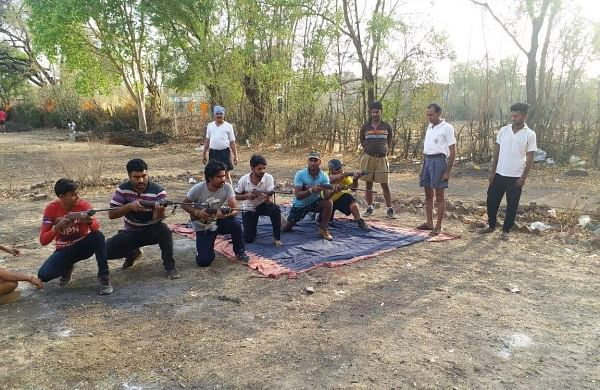A picture of Bajrang Dal training camp held recently in Biora area of MP's Rajgarh district near Bhopal.