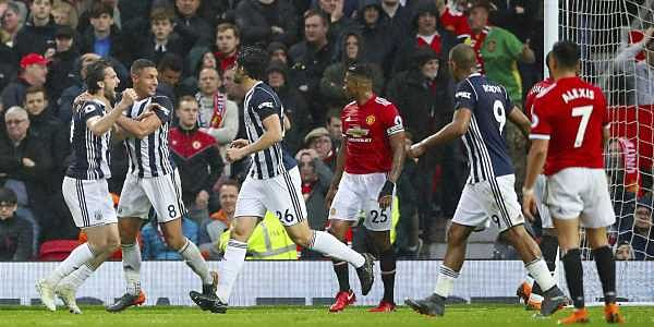 West Bromwich Albion's Jay Rodriguez, left, celebrates scoring his side's first goal of the game against Manchester United. (AP)