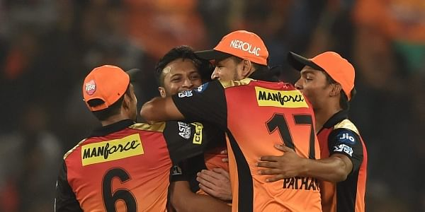 Sunrisers Hyderabad cricketers cerebrate their victory against Royal  Challengers Bangalore during the IPL T20 cricket match in Hyderabad on  Monday. | PTI