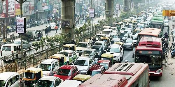 File picture of a monstrous traffic jam in New Delhi adding to the air pollution.