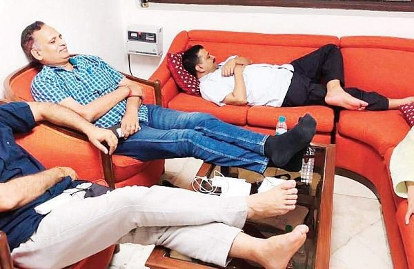 Delhi Chief Minister Arvind Kejriwal, his deputy Manish Sisodia and ministers Satyendar Jain and Gopal Rai relaxing on couches in the L-G's office   Twitter