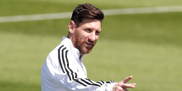 Lionel Messi points during a training session of Argentina on the eve of the group D match against Iceland at the 2018 soccer World Cup in Bronnitsy. | AP