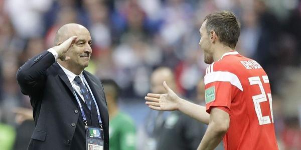 Image result for Russia head coach Stanislav Cherchesov salutes Artem Dzyuba the 5-0 drubbing of Saudi Arabia.