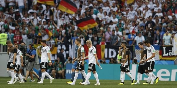 da2d564b4f1 German players walk off the pitch after losing 0-1 against Mexico in their  group F match at the 2018 FIFA World Cup in the Luzhniki Stadium in Moscow.  (AP)