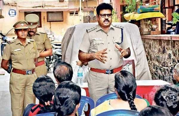 Assistant Commissioner of T Nagar, Selvam listening to the  crime-related grievances of T Nagar residents in the city on Sunday | Rakesh Kumar