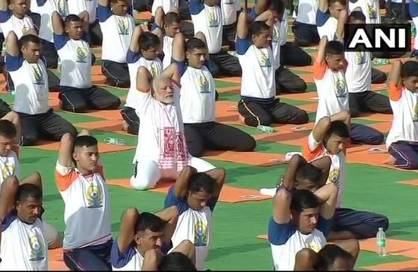 PM Modi is leading World Yoga Day 2018 celebrations in Forest Research Institute in Dehradun, Uttarakhand on June 21, 2018 (ANI Twitter Photo)