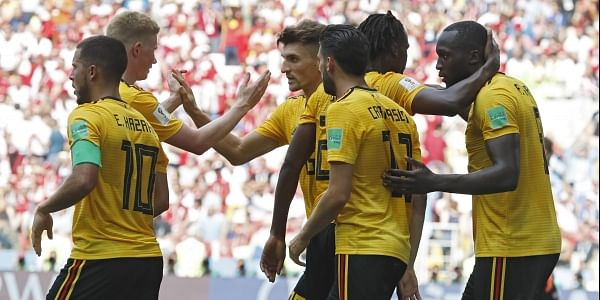 bd5c6aade0b Belgium players celebrate after teammate Romelu Lukaku