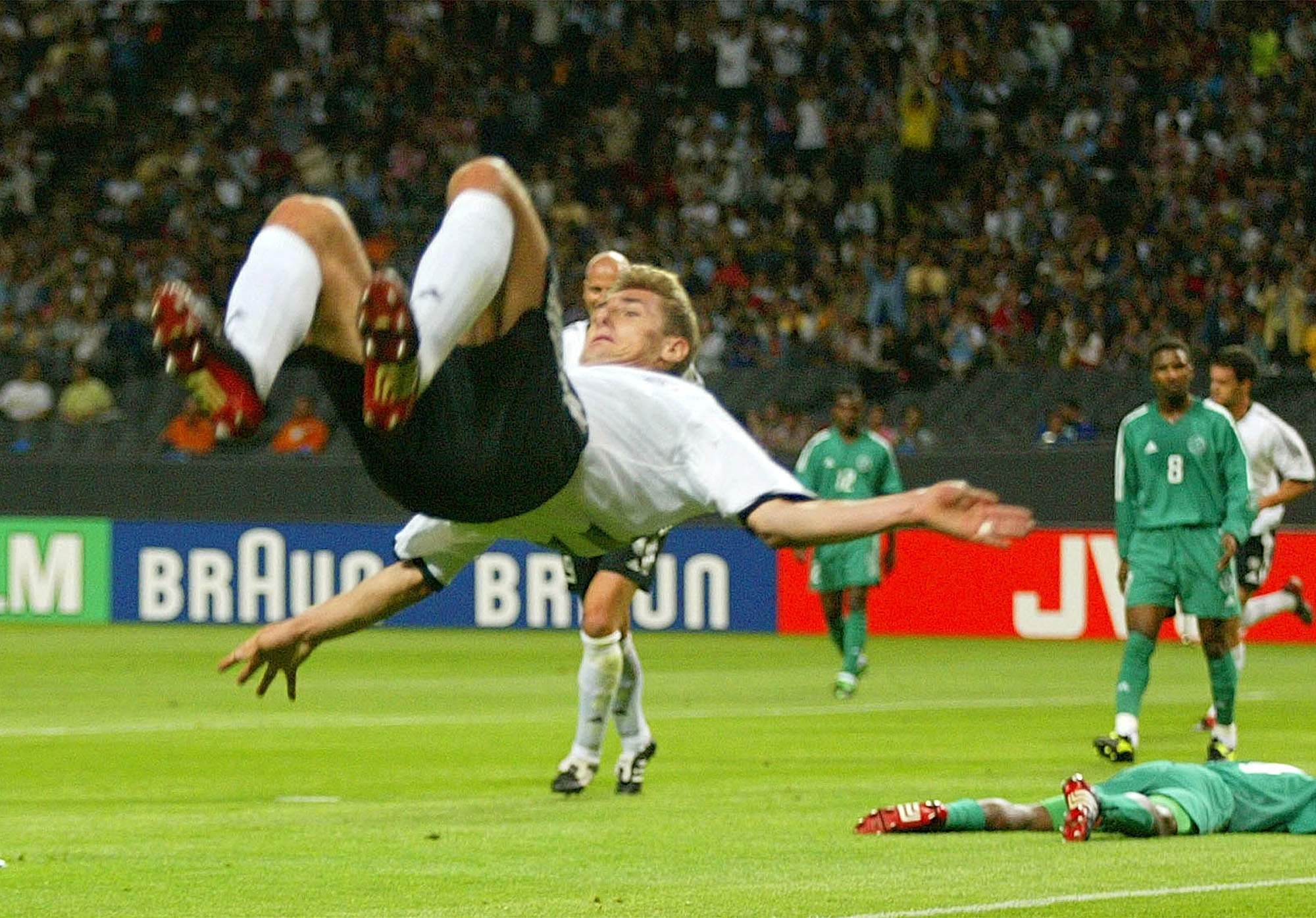 GERMANY 8, SAUDI ARABIA 0: In 2002, Germany's Miroslav Klose scored a hat-trick to give his side a big win over Saudi Arabia. Saudi Arabia was eliminated from the group stage with zero goals scored and 12 conceded, while Germany went on to reach the final and lost to Brazil. (File photo | AP)