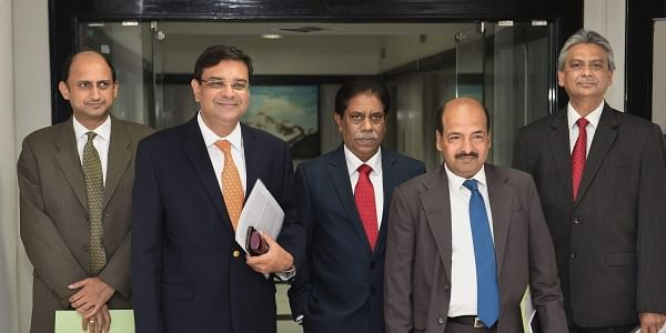 L-R RBI Deputy Governor Viral Acharya Governor Urjit Patel Deputy Governors B P Kanungo and N S Vishwanathan with Executive Director Michael Patra at the RBI headquarters after the announcement of a 0.25 per cent rate hike by the central bank in Mumbai. |